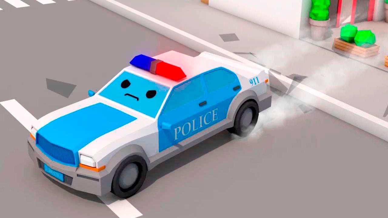 La voiture de police bleu et dessin anim fran ais dr les voitures youtube - Voiture police dessin anime ...