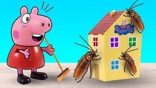 Свинка Пеппа и Джордж угощают Хлою пирогом, а тараканам достаются крошки. Видео с игрушками