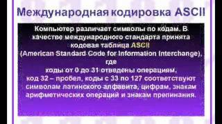 Урок кодирование текстовой информации