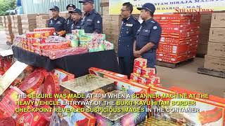 Customs Dept foils attempt to smuggle in RM800k worth of firecrackers at Bukit Kayu Hitam checkpoint