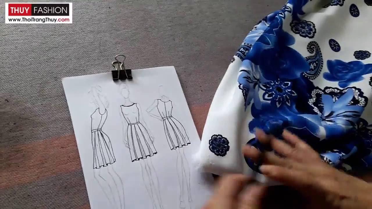 Hướng dẫn thiết kế váy xoè xếp ly hộp tại Thời Trang Thuỷ phần 1