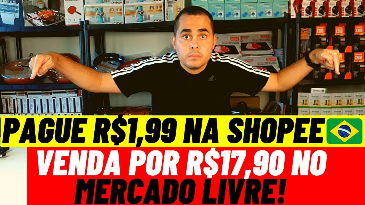 Pague R$1,99 na Shopee Brasil e venda por R$17,90 no Mercado Livre para levantar uma renda extra
