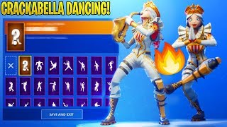 *EPIC* CRACKABELLA Skin Showcase With ALL 130 Dances/Emotes in Fortnite..!