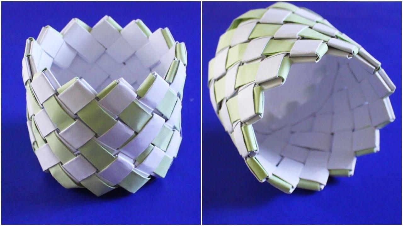 Membuat Keranjang Serbaguna Dari Kertas Hvs Koran Kerajinan Tangan 5 Youtube Hiasan dari kertas bekas