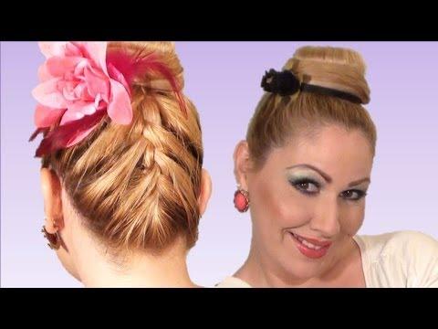RECOGIDO alto con trenza francesaatras peinado de moda para verano