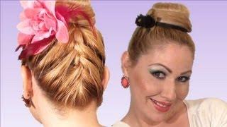 RECOGIDO alto con trenza francesa  atras peinado de moda para verano