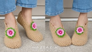 DIY Tutorial - Crochet Sweet Simple Slippers - Soft Shoes Booties Bedroom Slipper for Adults