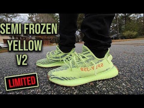 Yeezy 350 V2 Semi Frozen Yellow Restock Review On Feet Youtube
