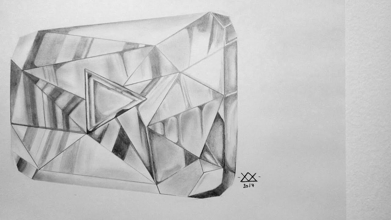 Line Drawing Diamond : Time lapse drawing: youtube diamond play button