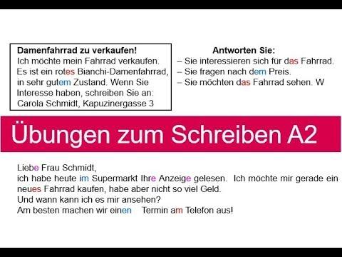 übungen Zum Schreiben A2 Part I German Writing Exercises A2