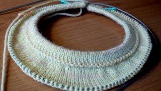 2. Росток при вязании спицами круглой кокетки сверху вниз