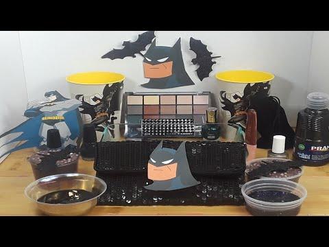 Making Batman Slime with Makeup and MIXING Random Things into Slime ASMR!Satisfying Slime Video #33