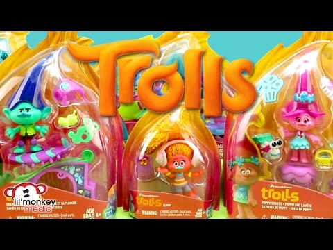 DreamWorks Trolls Playsets & Figurines!  Poppy, Branch, Smidge, Guy Diamond and More!