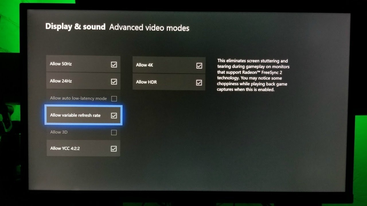 Xbox one X Freesync 2 ( Variable Refresh Rate) on a 4K HDR BenQ Monitor