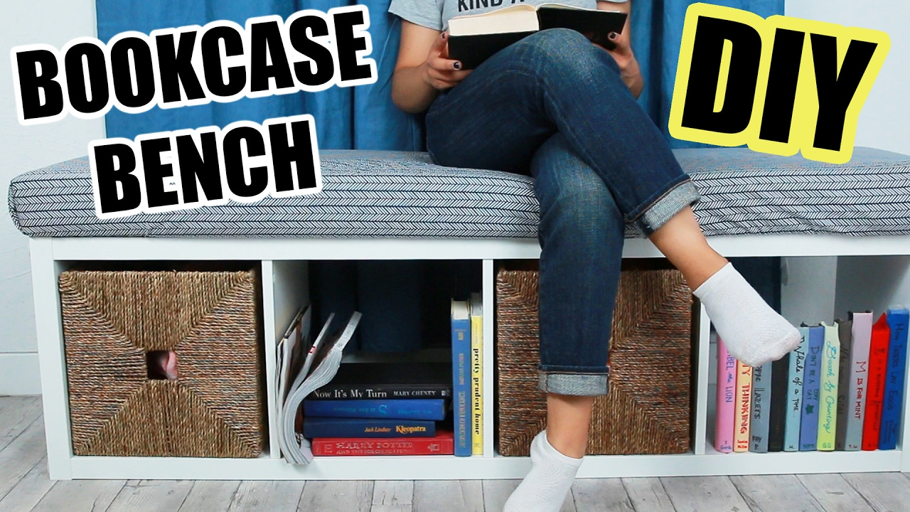 DIY Bookcase Bench - YouTube