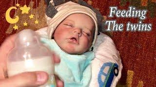 Feeding the Reborn Twins morning Routine Twin A and Twin B