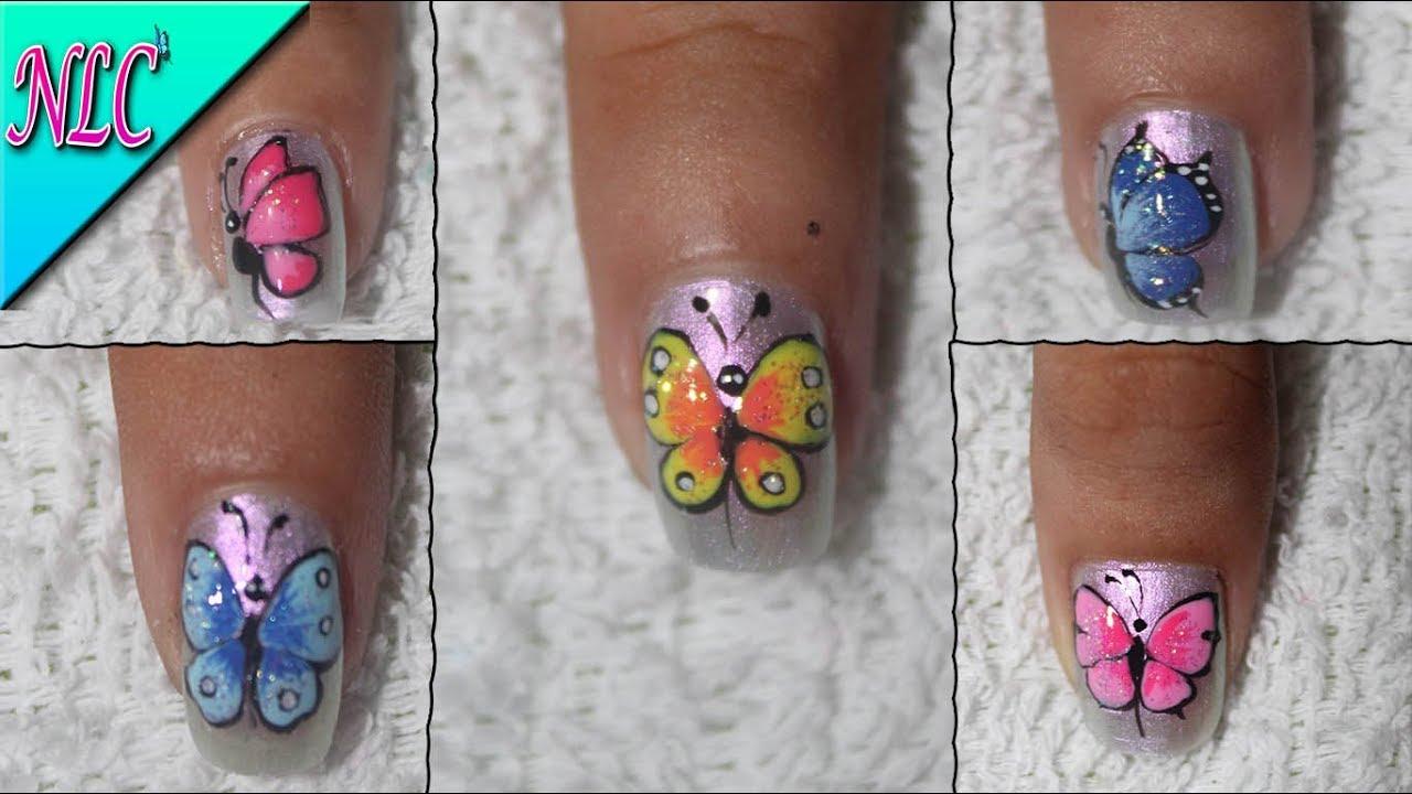 5 Diseños De Uñas Mariposas Butterfly Nail Art Como Hacer