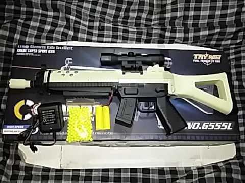 Tembakan mainan AIRSOFT GUN ELECTRIC LPEG G555L BB BULLET 6mm