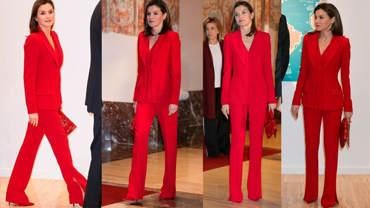 REINA LETIZIA ORTIZ estrena traje de pantalón y chaqueta en color rojo de  ROBERTO TORRETTA 8c200033697