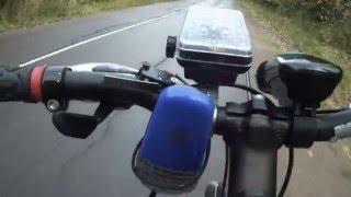 Велосипед с мотором.Мотор от триммера.(Продолжение испытаний...старт в горку уклон примерно 6 градусов.Звезда 90 зубов. Здесь продублирую данные..., 2012-10-11T19:59:41.000Z)