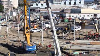 Time-lapse video of moving the Gold Line tracks in Little Tokyo