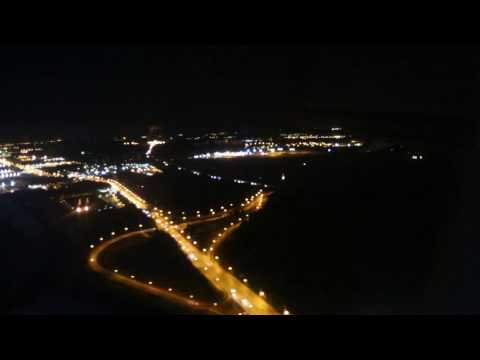 Landing at Sheremetyevo International airport Moscow at night