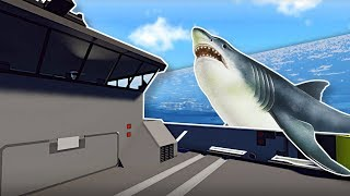 SHARKS SWARM SHIP DURING TSUNAMI!  - Stormworks Multiplayer Gameplay - Tsunami Survival