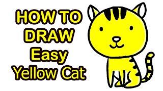 cat yellow draw easy การ เหล อง