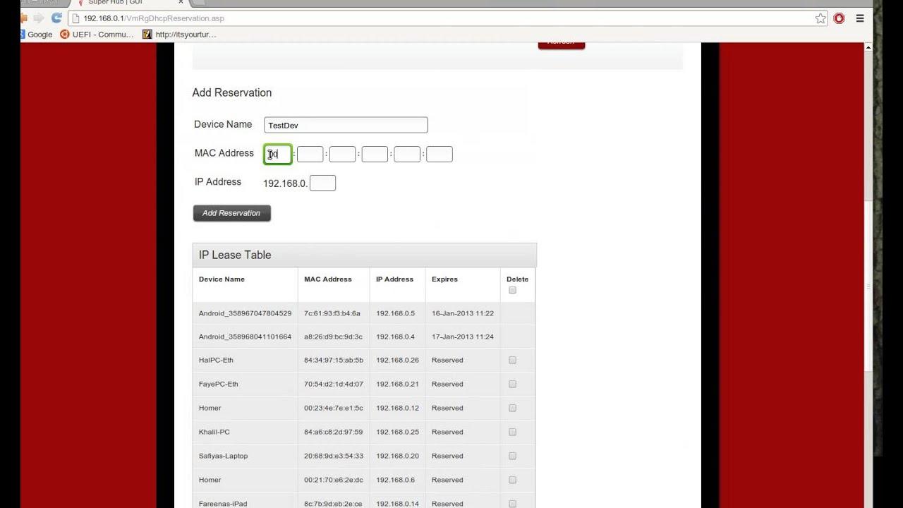 Virgin Media Ip Address >> Uk Virgin Media Super Hub Configuring Dhcp Reservation Youtube