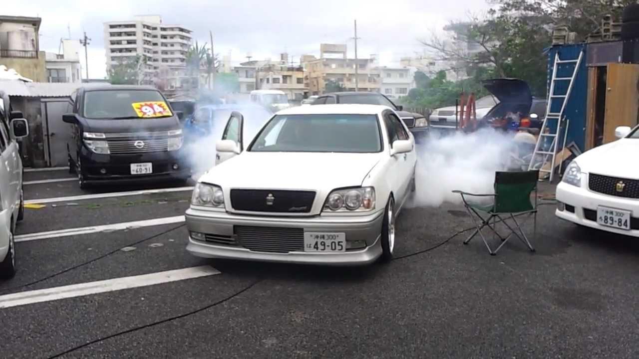 Toyota 1JZ Burnout 2JZ JZS171 CROWN 駐車場で!!