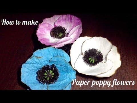 How to make paper POPPY FLOWER l DIY  paper POPPY FLOWER l CREATING CRAFTING