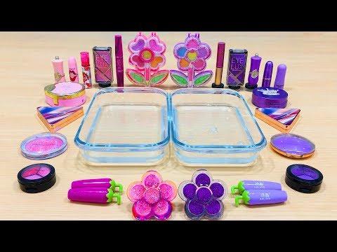Purple vs Pink ! Flower - Mixing Makeup Eyeshadow into Clear Slime   Satisfying Slime Videos #585