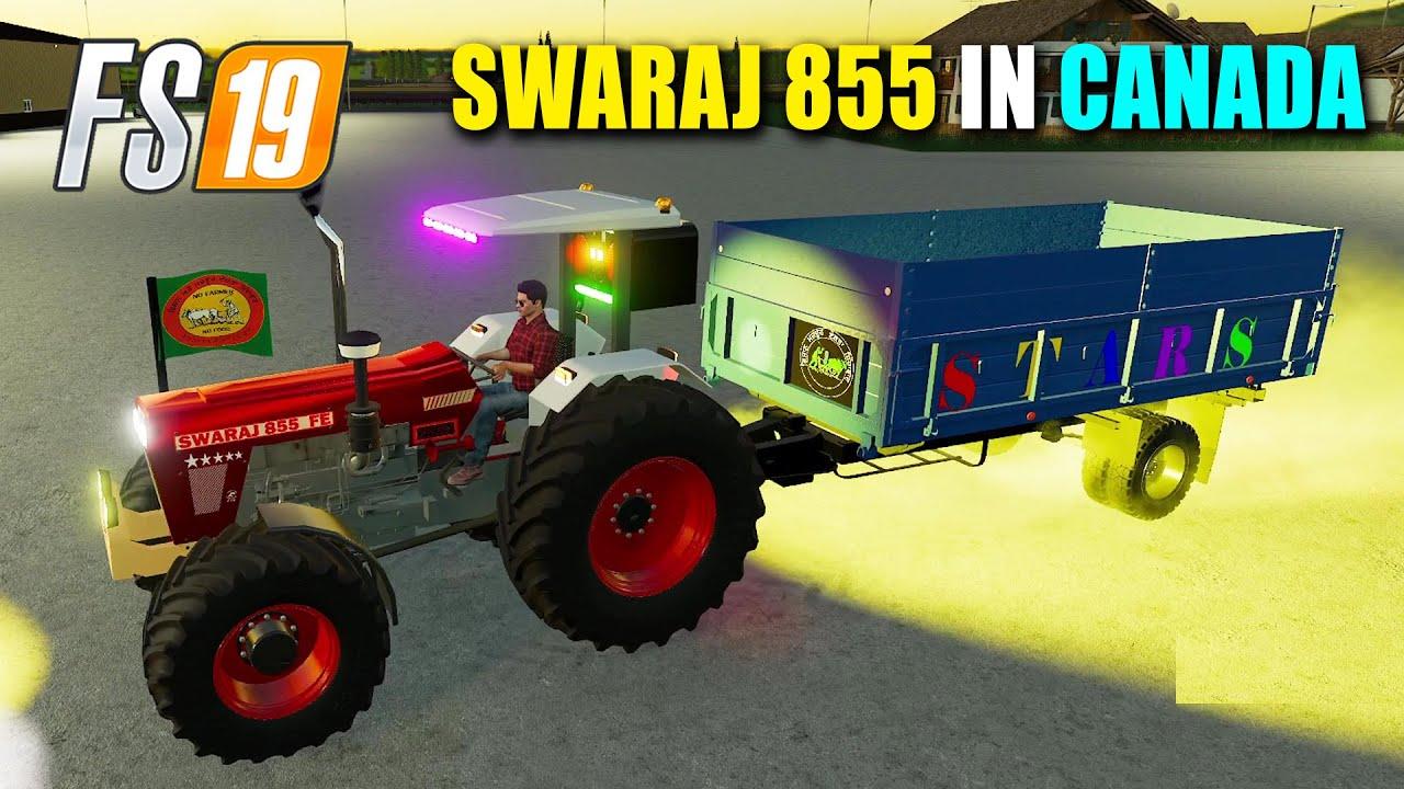 SWARAJ 855 4x4 Modified Tractor Selling Crops in Canada | Farming Simulator 19 | FS19 Gameplay
