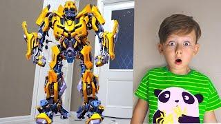 Em Bé Lái Siêu Xe Và Robot Tranformer ❤ ToysReview QTV ❤ Đồ Chơi Trẻ Em