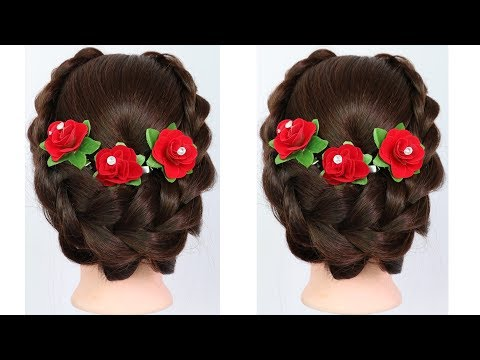 new braided updo hairstyle for weddings and party || beautiful hairstyles || hairstyle for long hair thumbnail
