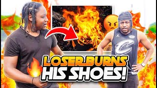 INTENSE Basketball Wager Against My Twin Brother LOSER BURNS SHOES !