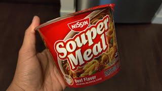 Nissin SOUPER MEAL Beef Flavor Instant Ramen Noodles Review!