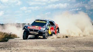 rally car rides at high speed on a dusty road