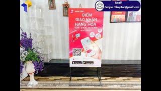 Mẫu hình quảng cáo sản phẩm bằng chân sắt standee hai mặt VIETJET
