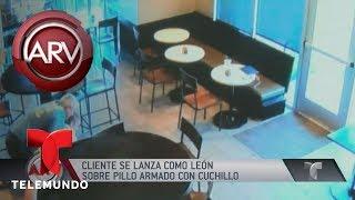 A cuchillo un cliente se defendió de un delincuente   Al Rojo Vivo   Telemundo