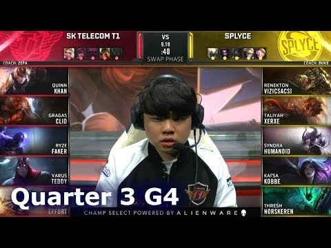 SPY vs SKT - Game 4 | Quarter Finals S9 LoL Worlds 2019 | Splyce vs SK Telecom T1 G4