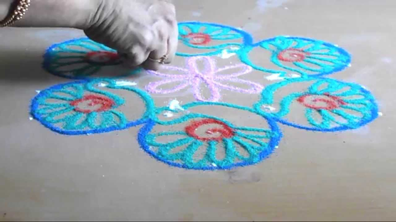 ... simple peacock rangoli for Sankranti muggulu | Sudha Balaji - YouTube