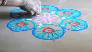kolam designs 7 by  4 dots- simple birds rangoli