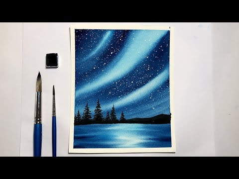 Northern Lights Forest Landscape Watercolor Painting For Beginners Step By Step
