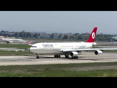 Turkish Airlines Airbus A340 take off Istanbul Ataturk Airport