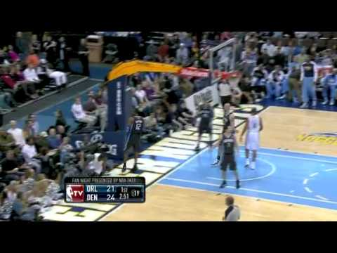 Dwight Howard chases down Ty Lawson with a brutal block to the fans vs Denver Nuggets