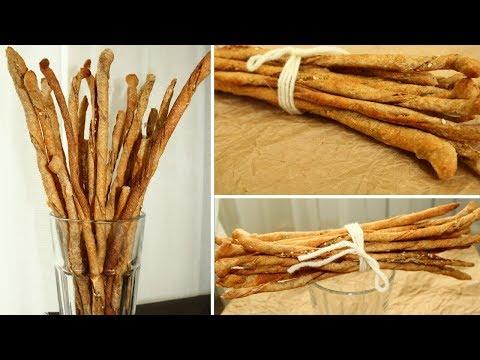 ГРИССИНИ - Хлебные палочки на остатках закваски из цельнозерновой муки / Рецепт Grissini