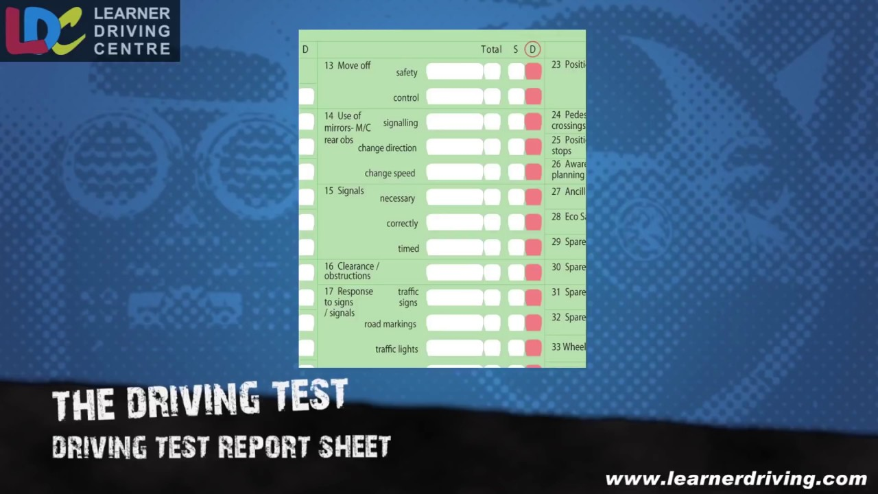 About the DL25 driving test marking form
