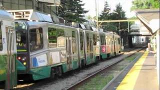 MBTA Green Line D Trolleys in Brookline MA.