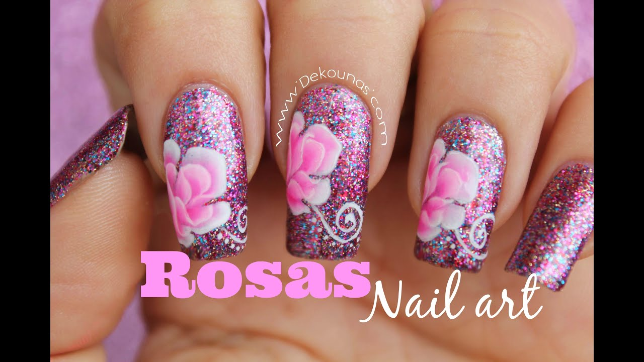 Decoraci n de u as rosas en pinceladas rose one stroke for Rosas de decoracion